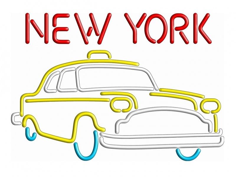 Retro Neon Sign - Yellow Cap New York
