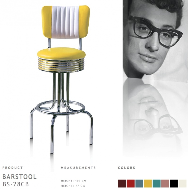 Bel Air barstool BS-28-77CB - geel