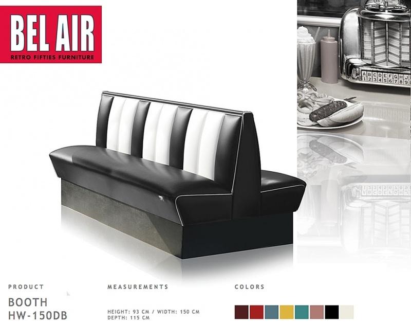 Bel Air HW-150DB retro diner booth, zwart
