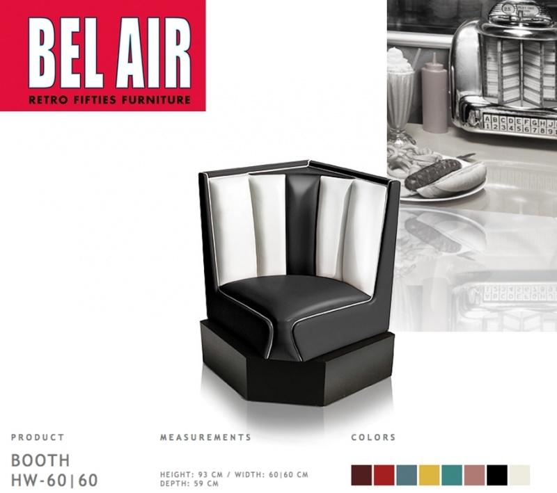 Bel Air 50ies diner corner booth / BLACK