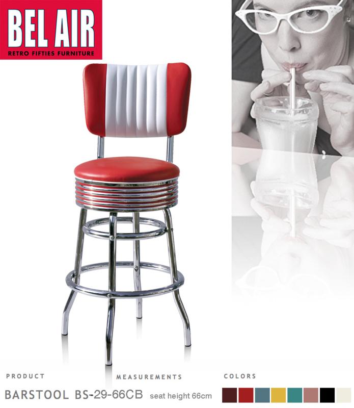 Bel Air BS-29-CB 66 Fifties kruk vintage rood