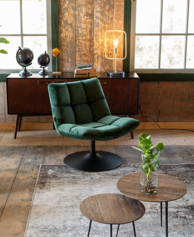 Bar Lounge Chair Velvet Green