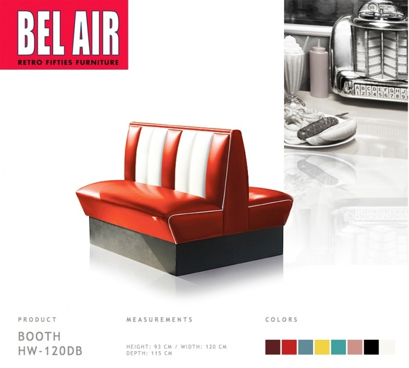 Bel Air HW-120DB - Double retro Diner booth RED