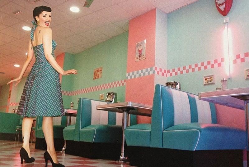 Bel Air HW-120DB - Double retro Diner booth / Vintage Blue