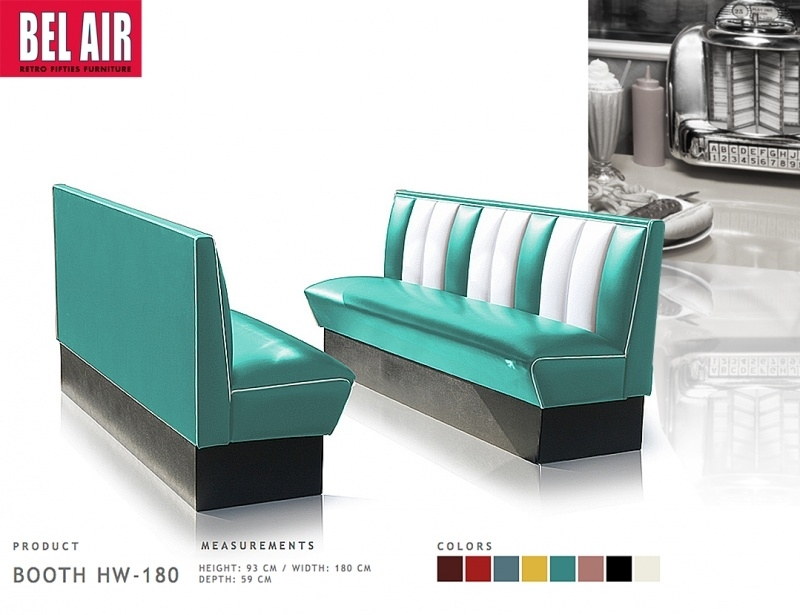 Bel Air retro furniture Diner booth HW-180 fifties, Turqouise