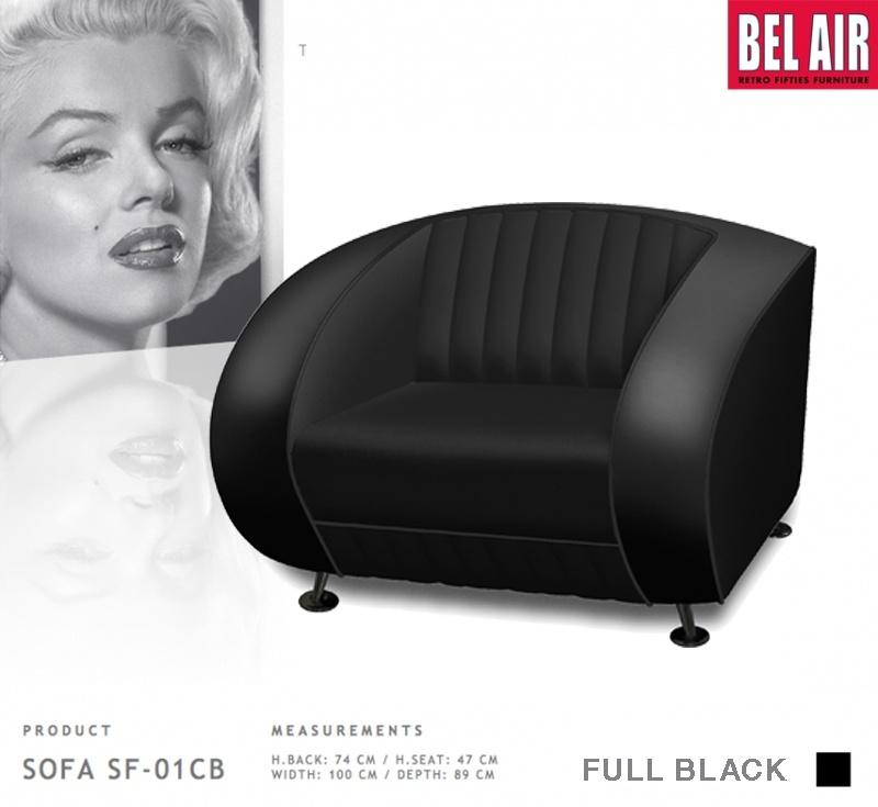 BEL AIR retro furniture SF-01-CB - Full Black