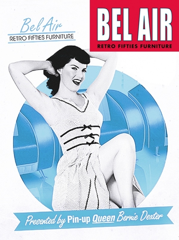 Bel Air SF-01CB retro furniture 50ies lounge / Vintage Blue