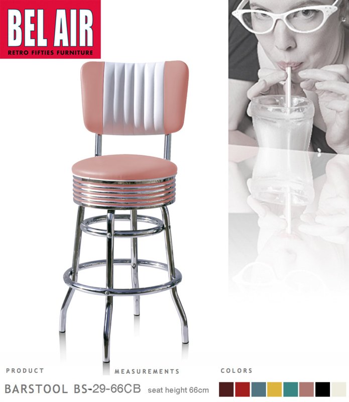 Bel Air BS-29-CB 66 Fifties kruk Roze