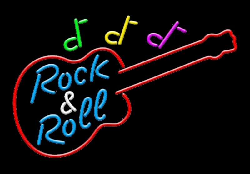 Neon Sign Guitar Rock And Roll