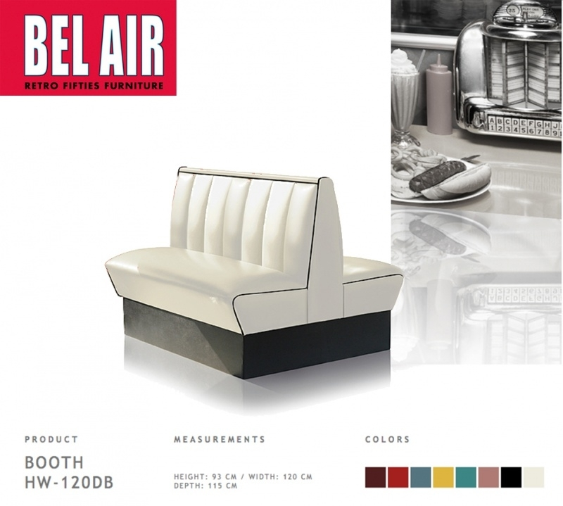 Bel Air HW-120DB - Double retro Diner booth OFF WHITE