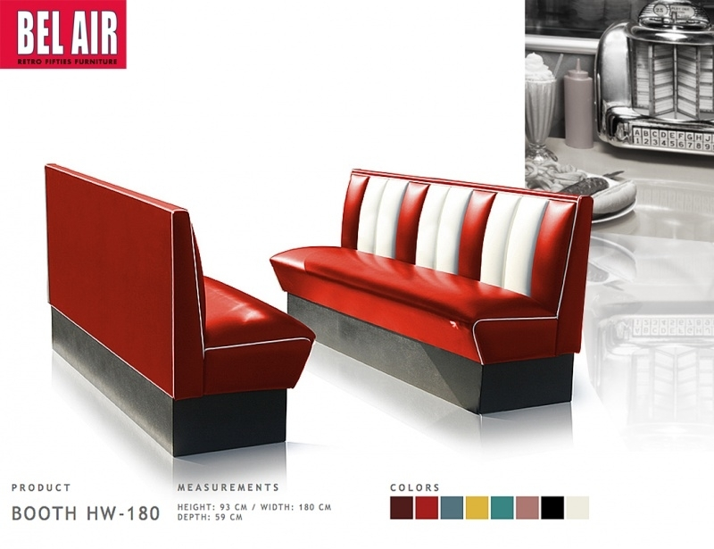 Bel Air retro furniture Diner booth HW-180 fifties, Red