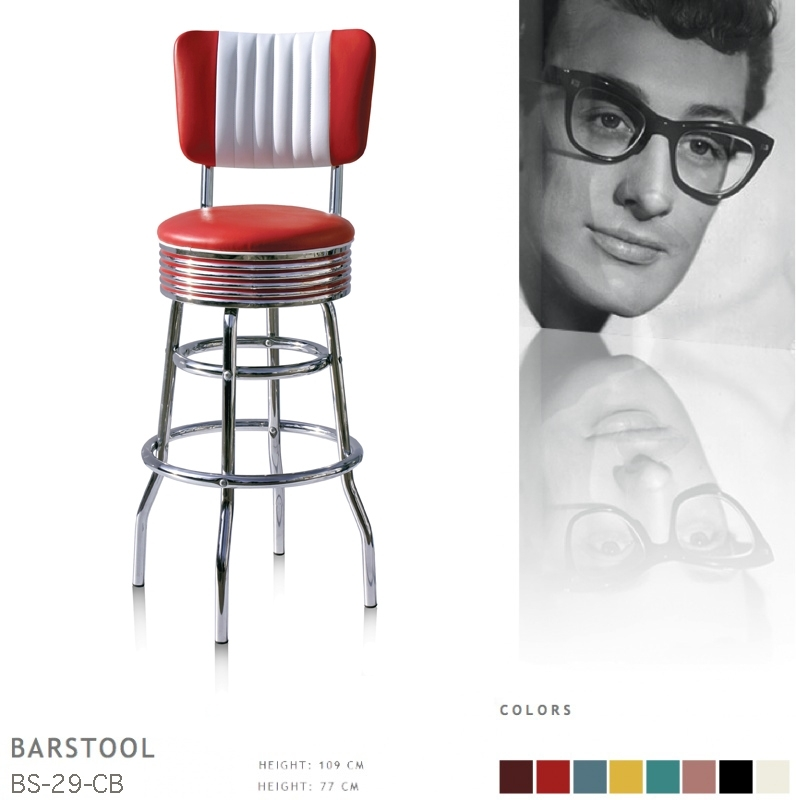 BS-29-77CB Bel Air barstool - red