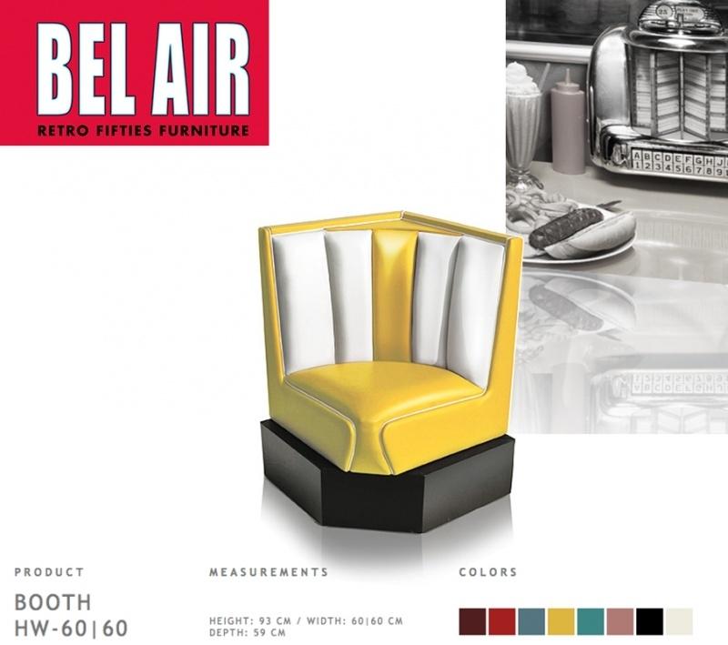 Bel Air 50ies diner corner booth / YELLOW