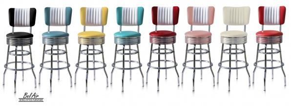 Retro diner furniture Bel Air amerikaanse barkruk - barstool - kantine meubilair 50ies - fifties - 50`ies
