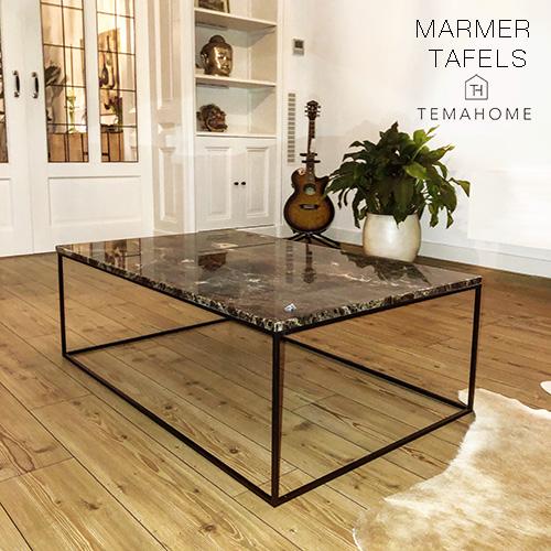 Marmer Tafels Temahome Design Emperador, Carrara, Guatemala Green, Black Marquina natuursteen