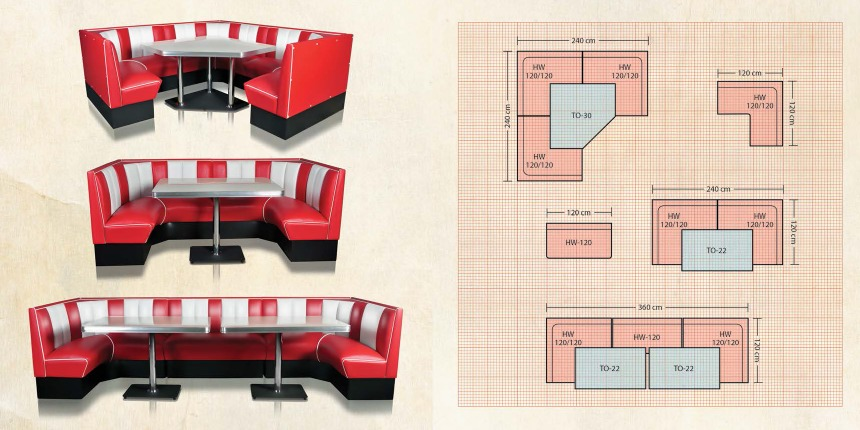 Diner booths Amerikaans meubels voor het gehele interieur, bar, restaurant of kantoor. Bel Air