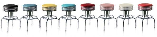 Eettafel- kruk stevig in 8 fifties vintage Bel Air kleuren