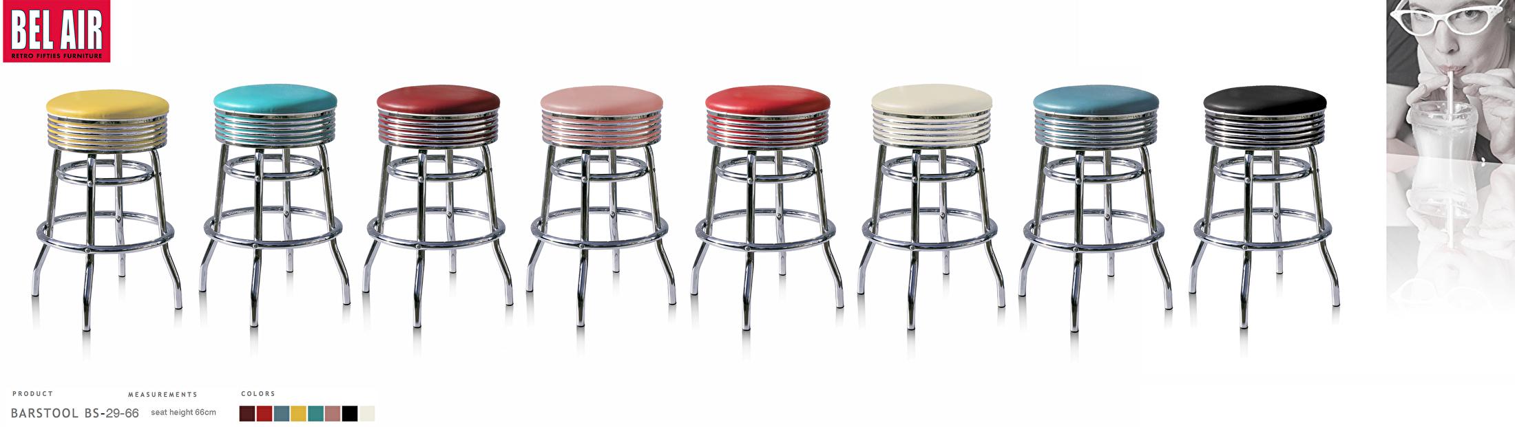 Fifties Design kruk 66cm hoog Bel Air Amerikaanse meubels