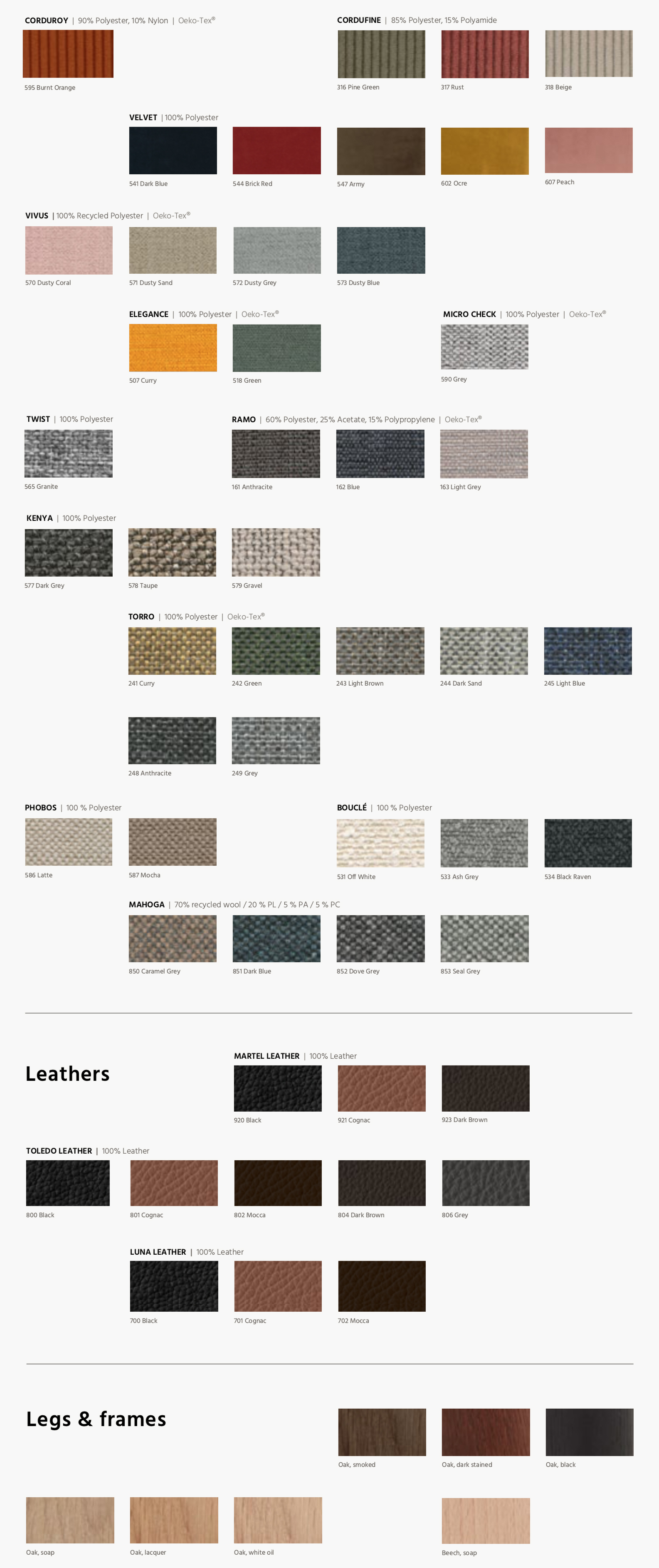 Kragelund banken, stoffen, materiaal, kleurstalen 2020