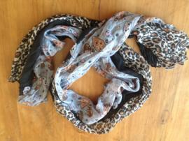 Shawl zwart/grijs/tijger-/paisleyprint