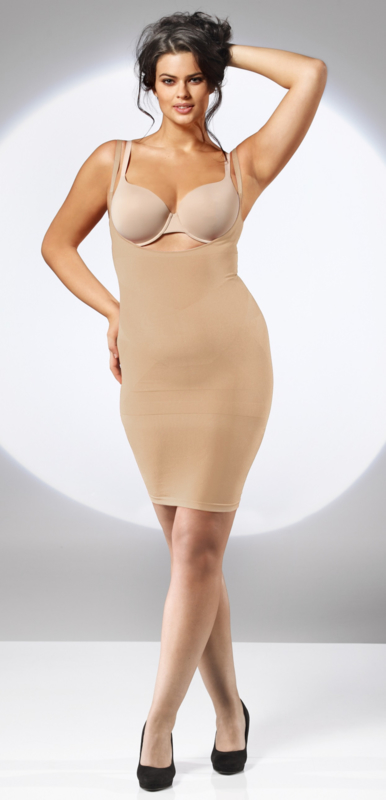 Body shape dress zwart of huid S - L