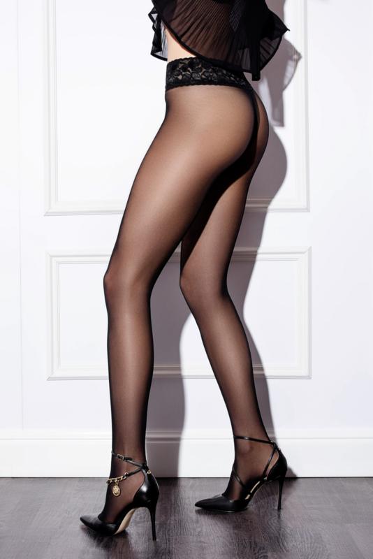 Panty Selection 30 den. zwart met kant