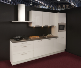 Keuken 135, ECO Capri soft-glans wit, 300 cm. en supercompleet