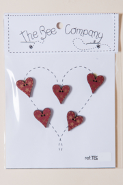 The Bee Company - 5 Hearts red