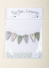 The Bee Company - 6 Hearts mixed mint / wit