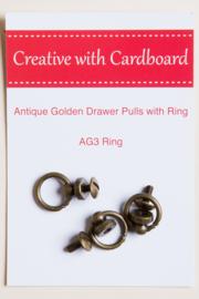 Rinske Stevens design - Antique Golden Drawer Pulls with Ring