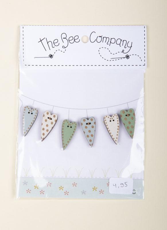 The Bee Company - 6 Hearts mixed mint / wit