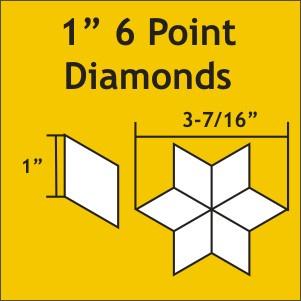 """Paper Pieces - 6DIA100 1"""" 6 Point Diamond 75 Pieces"""
