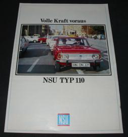 Auto folder Prospekt NSU Typ 110 / Typ110 mit 53 / 60 PS volle Kraft voraus 60er Jahre