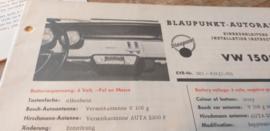 Einbauanleitung VW 1500 Blaupunkt autoradio  1963