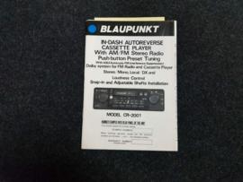 CR-2001 Blaupunkt radio  Bedienungsanleitung Operating Instructions
