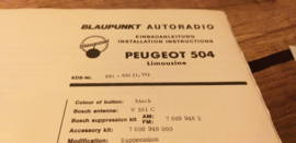 Einbauanleitung Peugeot 504  1970 Limousine Blaupunkt autoradio