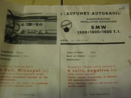 Radio inbouwset voor BMW 1500 1800 1964  Blaupunkt zeldzaam