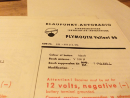 Einbauanleitung Plymouth 1965  Valiant Blaupunkt autoradio