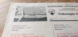 Einbauanleitung VW 1200 Käfer Blaupunkt autoradio 1954 - 1957