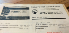 Einbauanleitung Opel Rekord  1963-1965 Blaupunkt autoradio