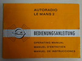 Opel Autoradio Le Mans 2 Radio Bedienungsanleitung