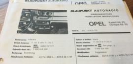Einbauanleitung Opel Kadett Olympia 1968-1970 Blaupunkt autoradio