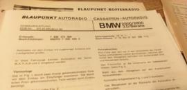 Einbauanleitung BMW 2500 2800 3.0 Bavaria 1972 Blaupunkt autoradio