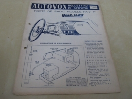 Gebruiksaanwijzing / schema Autovox RA 7 Fiat 1400