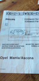 22 EN 4579 / 6579 Philips inbouwvoorschrift Opel Manta / Ascona