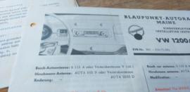 Einbauanleitung VW 1200 Blaupunkt autoradio Mainz 1960-62