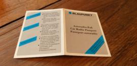 Blaupunkt code kaart radio passport blanco NOS