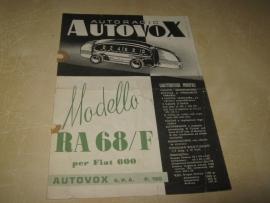 Gebruiksaanwijzing / schema Autovox RA 68 (Fiat 600)