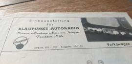 Einbauanleitung VW  Käfer Blaupunkt autoradio 1956