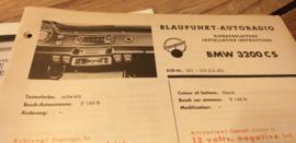 Einbauanleitung BMW 3200 CS 1962 Blaupunkt autoradio